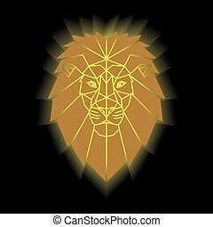 Gold lion head