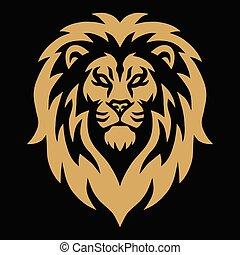 Gold Lion Head Golden Logo Mascot Vector Illustration Design