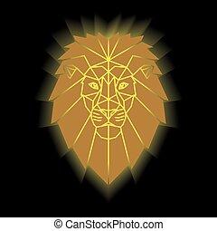 Gold lion head