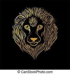 Gold lion head on black background.