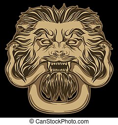 Gold lion holding a snake on black. Door knocker. Hand drawn vec