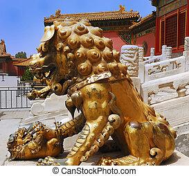 Gold lion in Forbidden City