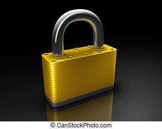 Gold lock 3d render security