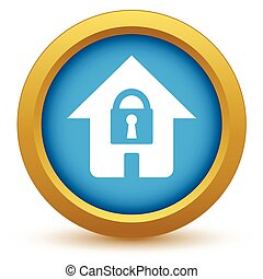 Gold lock house icon