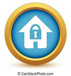Gold lock house icon