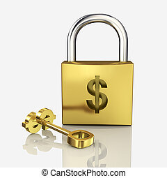 gold lock isolated on a white background
