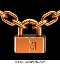 Gold lock padlock security data chain join safeguard. Puzzle link