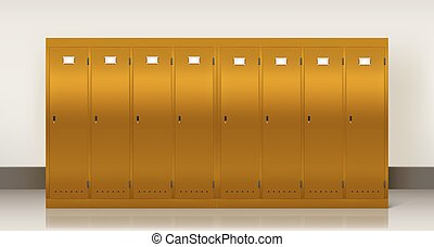 Gold lockers, vector school or gym changing room metal cabinets. Row of realistic 3d yellow storage furniture with keyholes and blank nameplates on closed golden doors in college, university, office