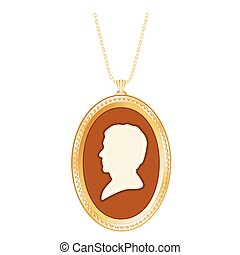 Gold Locket, Antique Man Cameo - Antique oval gold keepsake...