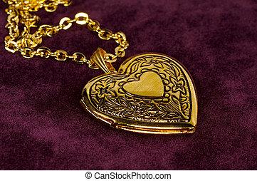 Gold Locket - Gold Heart Shape Locket