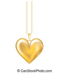 Gold locket isolated - A realistic vector illustration of a...