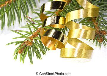 gold, lockig, geschenkband
