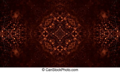gold loopable abstract particle background with depth of field, glow sparkles of lights and digital elements. Wave particles form lines and lines form curve surfaces like rich pattern. V16