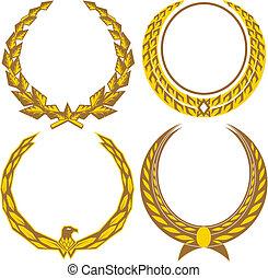 gold, lorbeeren