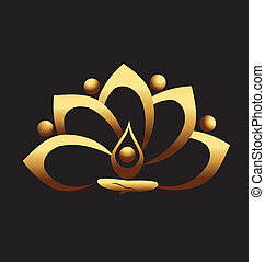 Gold lotus and people team meditation icon vector logo design