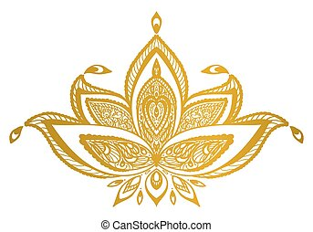 vector Indian floral ornament. lotus border mandala.