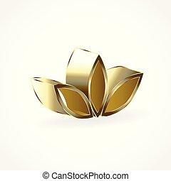 Gold lotus flower logo