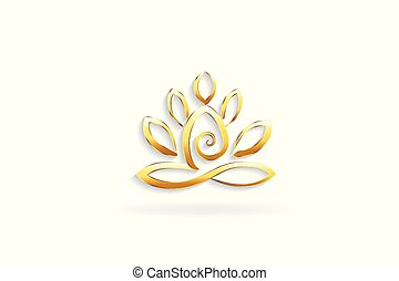 Gold lotus flower yoga man logo symbol