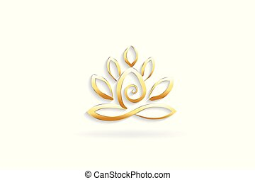 Gold lotus yoga man logo