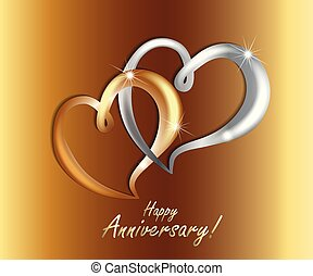 Gold love hearts wedding anniversary luxury symbol icon vector