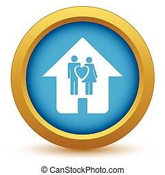 Gold love home icon