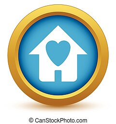 Gold love house icon