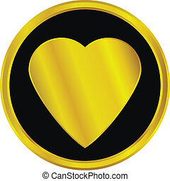 Gold love sign button