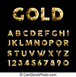 Gold elegant low poly luxury alphabet font typeface with numbers isolated on black background. EPS10 vector.