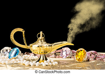 Gold magic lamp - The formation of a magical deity from a ...