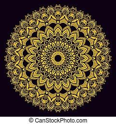 Gold mandala on black background. Ethnic vintage pattern.
