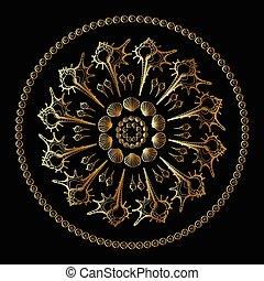 Sea Shells ornament. - Gold mandala on black background. Sea...