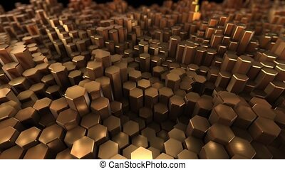 Gold many hexagon with geometry background 4k