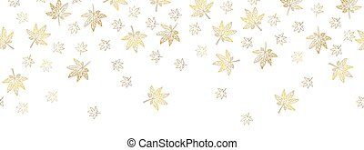 Gold maple leaves falling border design with white background