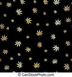 gold, marihuana, hintergrund, blattmuster, wiederholung, seamless, repeats., marijuana blatt, hintergrund, kraut, narkotisch, gewebe, pattern., verschieden, vektor, patterns., eps, 10
