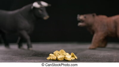 Gold bear and bull market concept