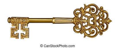 Gold Master Key on White - Ornate, gold master key on white...
