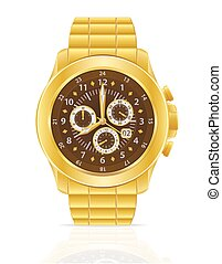 gold mechanical wristwatch vector illustration isolated on...