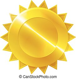 Gold Medal Award Icon - A gold medal award icon with star...