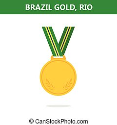Gold medal. Brazil. Rio. Olympic games 2016. Vector illustration.Flat style.