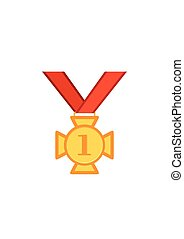 Gold medal cross with red ribbon isolated on a white background. Award gold winner prize icon vector illustration in flat tyle