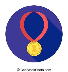 Gold medal for equestrian sport icon in flat style isolated on white background. Hippodrome and horse symbol stock vector illustration.
