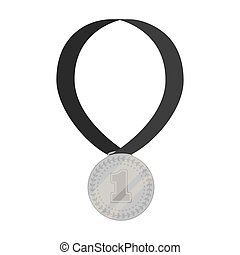 Gold medal for equestrian sport icon in monochrome style isolated on white background. Hippodrome and horse symbol stock vector illustration.