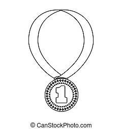 Gold medal for equestrian sport icon in outline style isolated on white background. Hippodrome and horse symbol stock vector illustration.