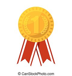 Gold medal for first place prize vector illustration.