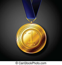 Gold medal for first place with blue ribbon eps10