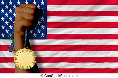 Gold medal for sport and national flag of america