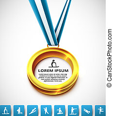 Gold medal with sports icons, eps 10