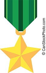 Gold medal in the shape of a star. Vector illustration