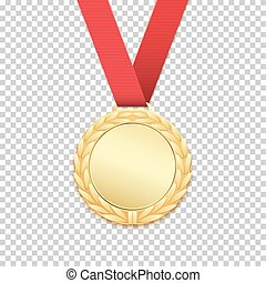 Gold medal isolated on transparent background.