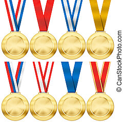 gold medal set with various photo realistic ribbon type...